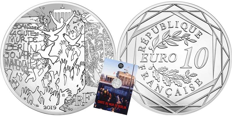 10 € Argent chute du mur de Berlin
