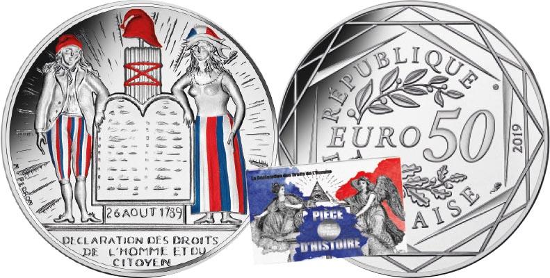 50 euros Argent colorisée - Droits de l'Homme et du Citoyen