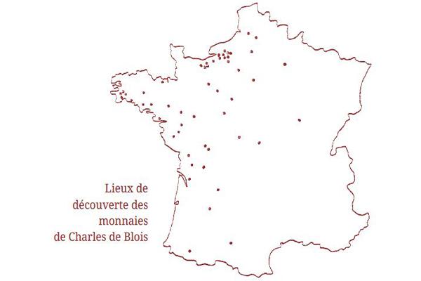 Lieux de découverte des monnaies de Charles de Blois