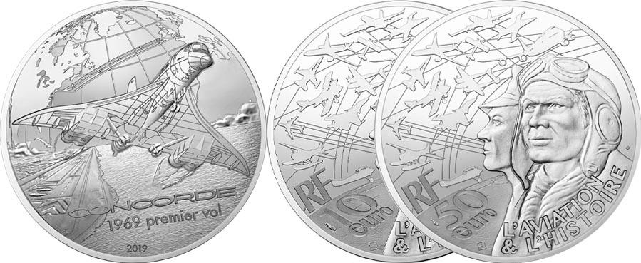 10 € et 50 € Argent Concorde