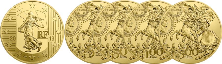 5 €, 50 €, 100 € et 500 € Or Semeuse Franc Germinal