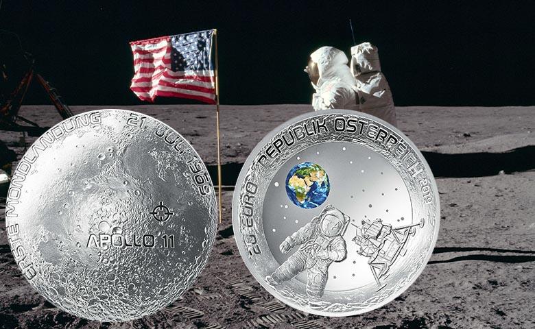 50 ans des premiers pas sur la Lune - 20 euros Argent Autriche 2019