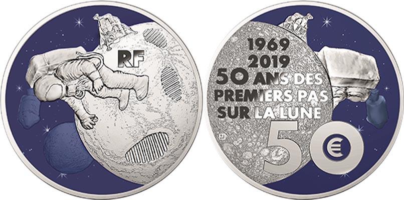 50 euros Argent - 50 ans du premier pas sur la Lune