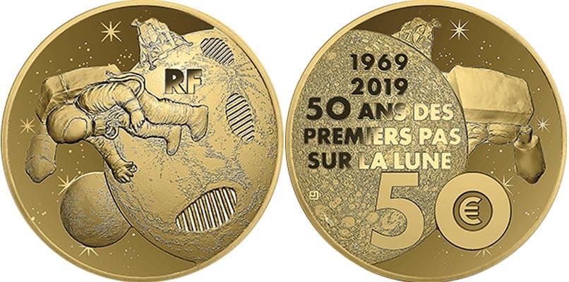 50 euros Or - 50 ans du premier pas sur la Lune