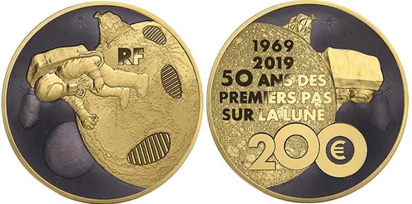 200 euros Or - 50 ans du premier pas sur la Lune