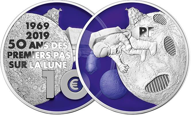 10 euros Argent - 50 ans du premier pas sur la Lune