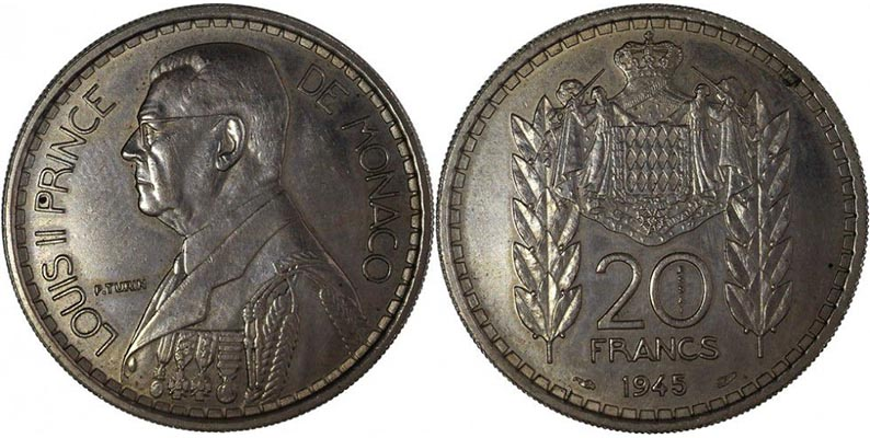 20 Francs Monaco 1945