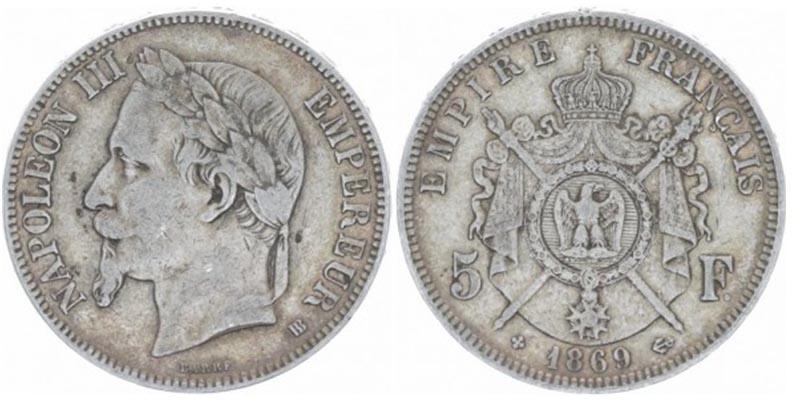 5 Francs France 1869