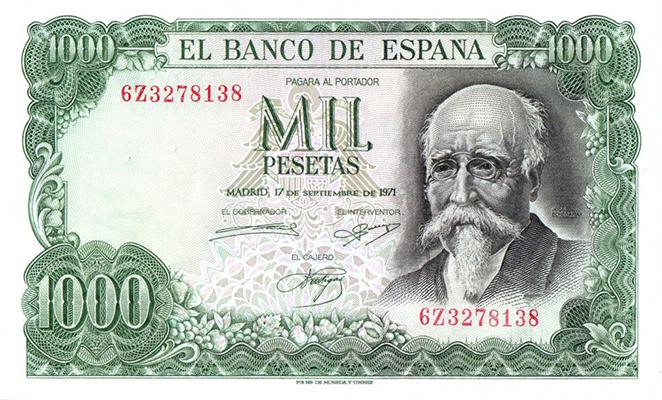1 000 Pesetas Espagne 1971