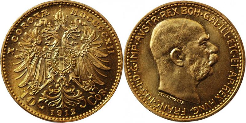 10 Couronnes Autriche-Hongrie 1912