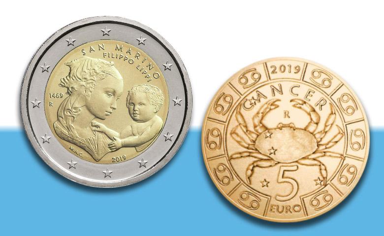 2 Euros Saint-Marin 2019 Lippi et 5 Euros Zodiaque