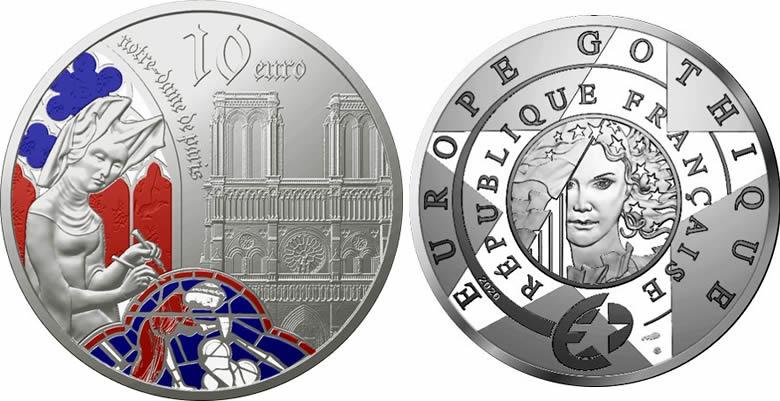Les pièces Europa Star - L'EUROPE GOTHIQUE & NOTRE DAME DE PARIS - argent colorisé et or