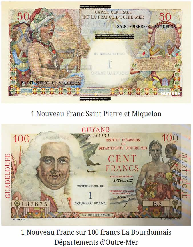 1 Nouveau Franc sur 100 francs La Bourdonnais Départements d'Outre-Mer