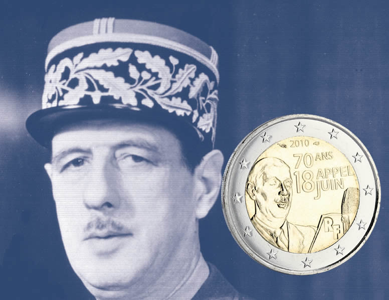 2 EUROS COMMÉMO. FRANCE 2010 - APPEL DU 18 JUIN 1940