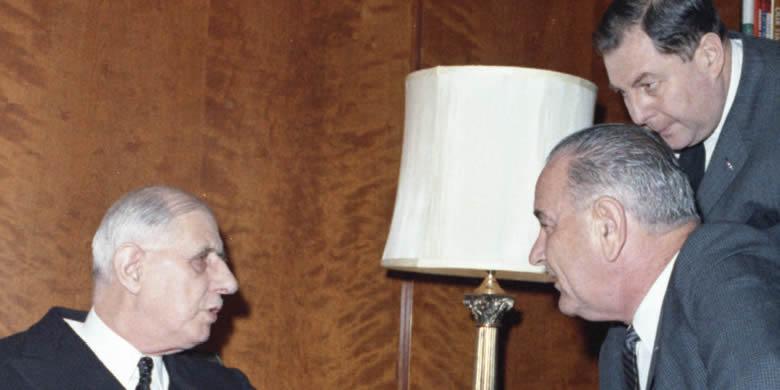 Charles de Gaulle et le Président Lyndon B. Johnson à Washington en 1963.