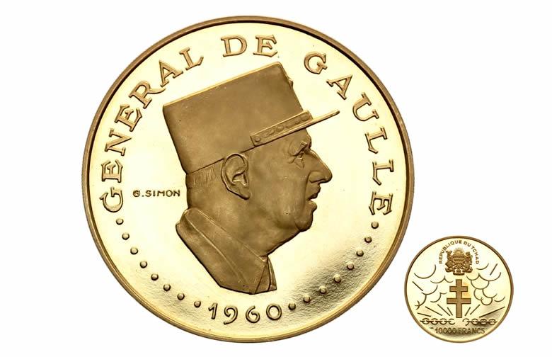 TCHAD 10000 CFA, CHARLES DE GAULLE - CROIX DE LORRAINE OR 1970