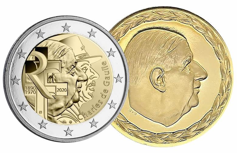En France, les frappes représentant le général www.monnaie-magazine.com 79 Monnaie Magazine Février 2020 [ HISTOIRE NUMISMATIQUE ] sont nombreuses