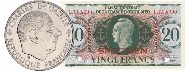 il peut continuer à émettre des pièces et des billets arborant la Croix de Lorraine, nouvel emblème de la France Libre