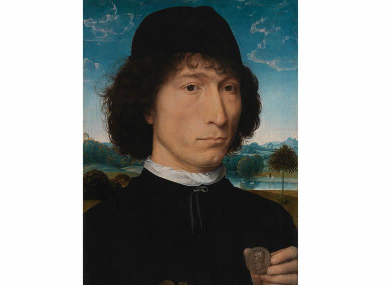 """""""Portrait d'homme avec une pièce de monnaie romaine"""" Hans Memmling"""
