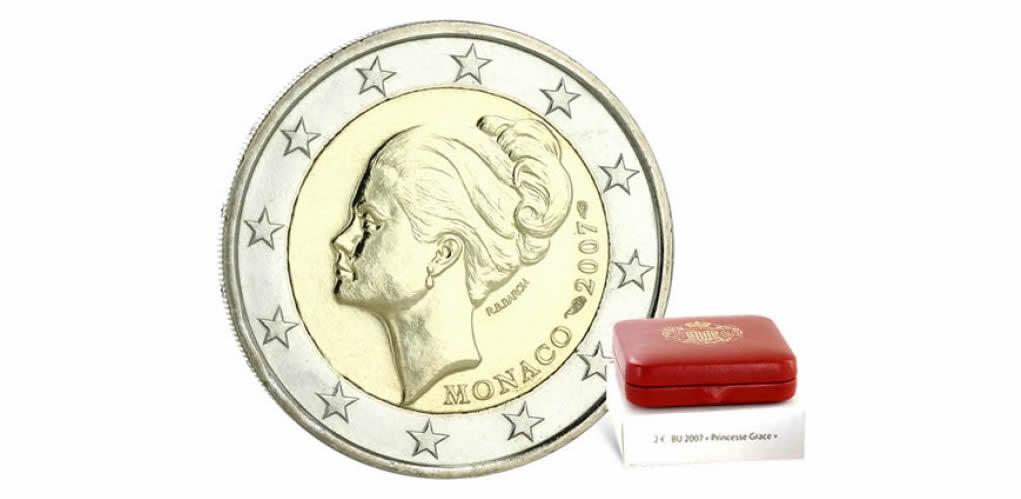 """2 euro commémorative nationale 2007, """"25e anniversaire de la disparition de la Princesse Grace"""""""
