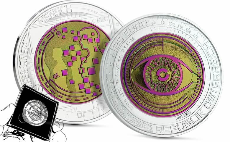 """25 euros argent/niobium 2020, série bimétallique """"L'homme vitreux"""""""