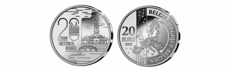 """20 euros 2020, """"patrimoine mondial de l'UNESCO : 20e anniversaire du classement du centre historique de Bruges"""""""