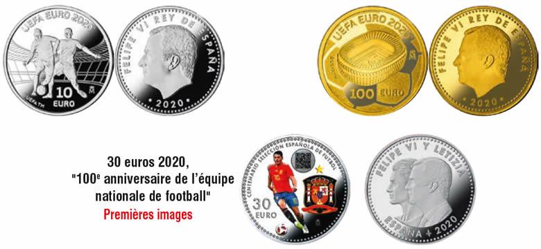"""30 euros 2020, """"100e anniversaire de l'équipe nationale de football"""""""